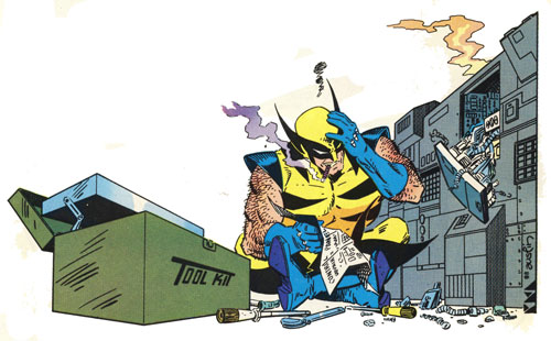 Wolverine trying to fix hydraulic press
