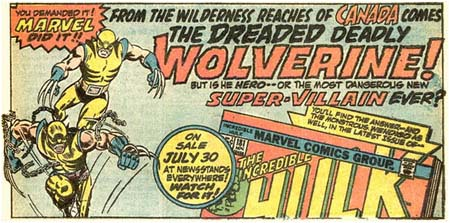 Original Wolverine ad for Incredible Hulk #181