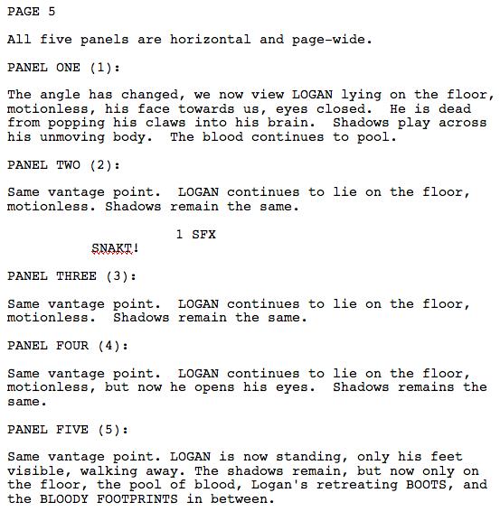 Wolverine: Guilt Script Excerpt